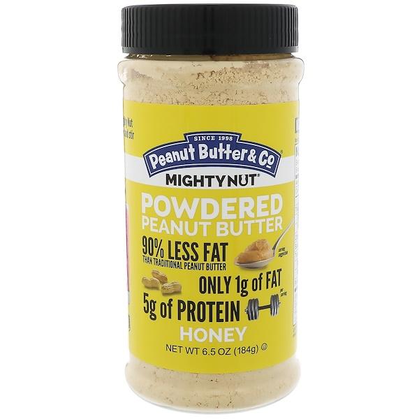 Peanut Butter & Co、, 強大的堅果,粉狀花生醬,蜂蜜,6、5 盎司(184 克)