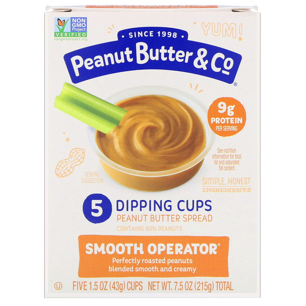 Peanut Butter & Co., Dipping Cups, Smooth Operator, Creamy Peanut Butter , 5 Cups, 1.5 oz (43 g) Each (Discontinued Item)