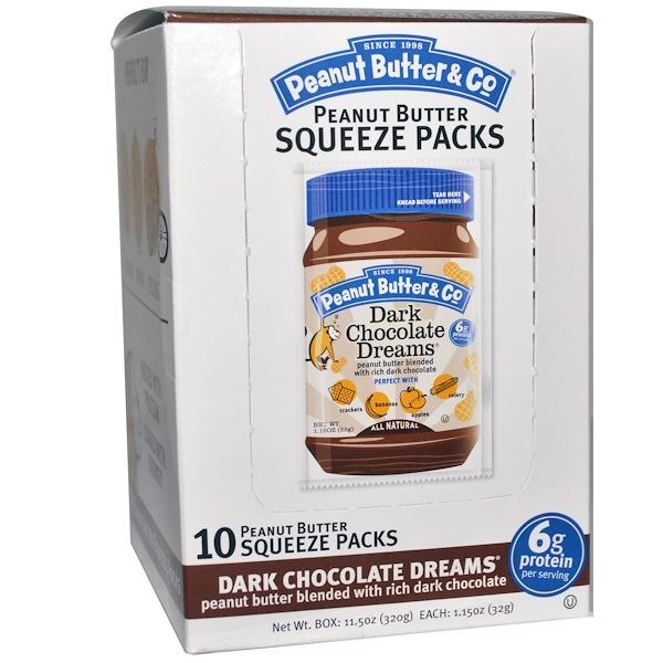 Peanut Butter & Co., Squeeze Packs, Dark Chocolate Dreams Peanut Butter, 10 Per Box, 1.15 oz (32 g) Each