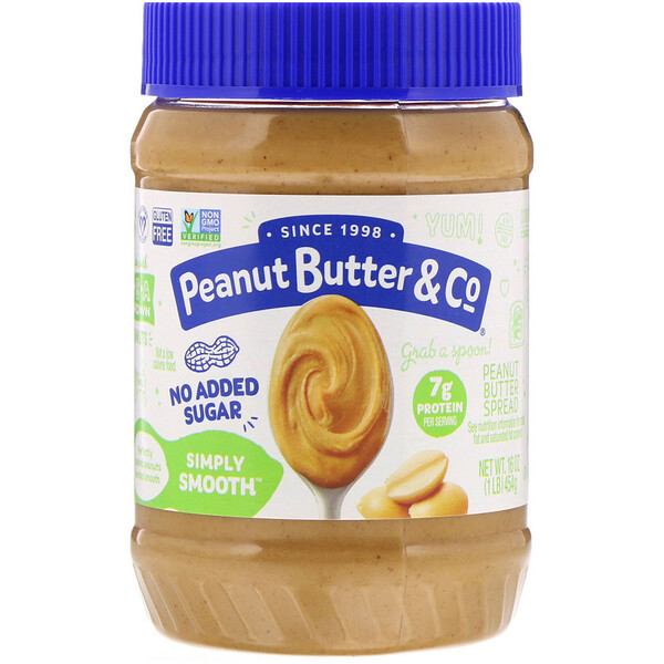 Peanut Butter & Co., Simply Smooth, Peanut Butter Spread, No Added Sugar, 16 oz (454 g)