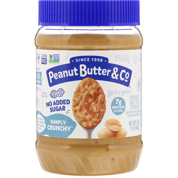 Peanut Butter & Co., Simply Crunchy, Peanut Butter Spread, No Added Sugar, 16 oz (454 g)