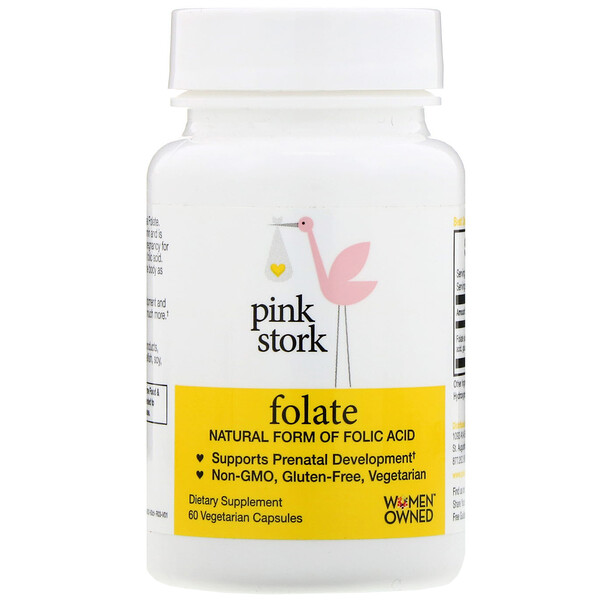 Pink Stork, Folate, Natural Form of Folic Acid,  60 Vegetarian Capsules (Discontinued Item)