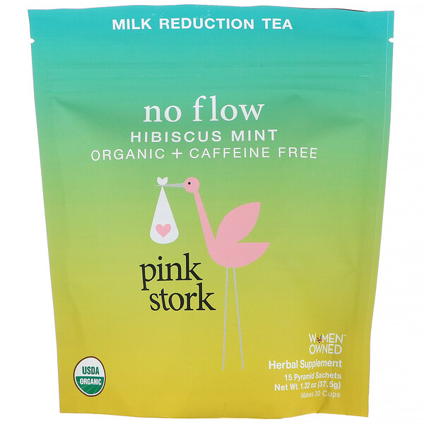 Pink Stork, No Flow, Milk Reduction Tea, Hibiscus Mint, Caffeine Free, 15 Pyramid Sachets, 1.32 oz (37.5 g)