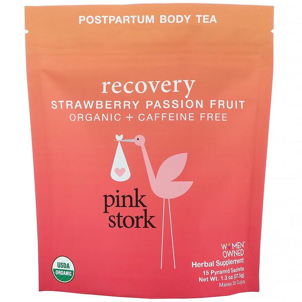 Pink Stork, रिकवरी, पोस्टपार्टम बॉडी टी, स्ट्रॉबैरी पैशन फ्रूट, कैफ़ीन रहित, 15 पिरामिड सैशे, 1.32 आउंस (37.5 ग्राम) (Discontinued Item)