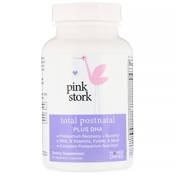 Pink Stork, Total Postnatal Plus DHA, 60 Vegetarian Capsules (Discontinued Item)