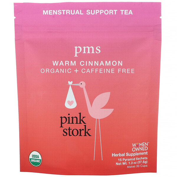 Pink Stork, PMS, Menstrual Support Tea, Warm Cinnamon, Caffeine Free, 15 Pyramid Sachets, 1.3 oz (37.5 g) (Discontinued Item)