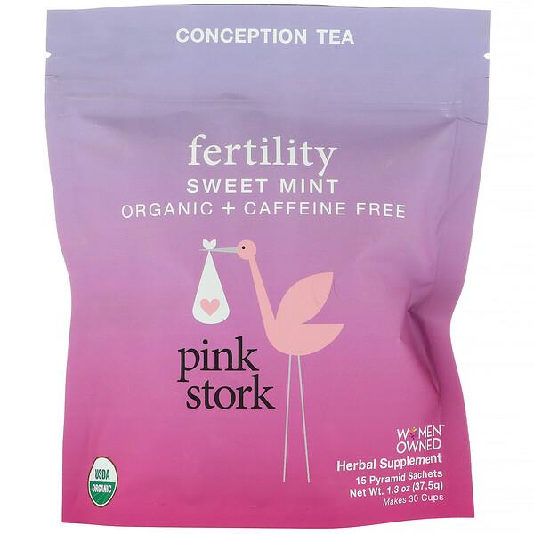 Pink Stork, Fertility, Conception Tea, Sweet Mint, Caffeine Free, 15 Pyramid Sachets, 1.3 oz (37.5 g) (Discontinued Item)