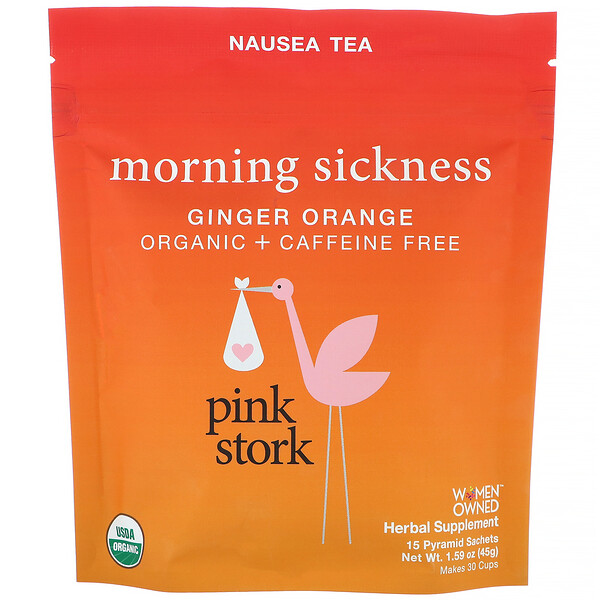 Pink Stork, Morning Sickness, Nausea Tea, Ginger Orange, Caffeine Free, 15 Pyramid Sachets, 1.59 oz (45 g) (Discontinued Item)