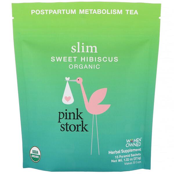 Pink Stork, Slim, Postpartum Metabolism Tea, Sweet Hibiscus, 15 Pyramid Sachets, 1.32 oz (37.5 g) (Discontinued Item)