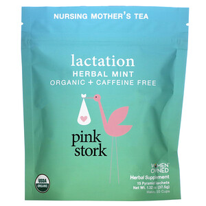 Pink Stork, Lactation, Nursing Mother's Tea, Herbal Mint, Caffeine Free, 15 Pyramid Sachets, 1.32 oz (37.5 g)'