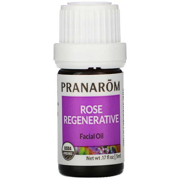 Pranarom, Essential Oil, Rose Regenerative Facial Oil, .17 fl oz (5 ml)