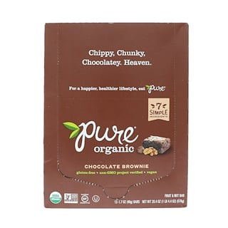 Pure Organic, Organic, Chocolate Brownie, 12 Bars, 1.7 oz (48 g) Each