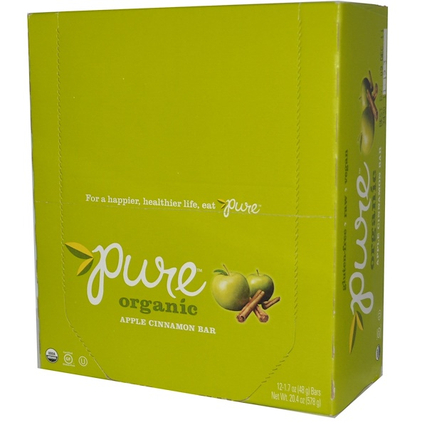 Pure Bar, Organic Bar, Apple Cinnamon, 12 Bars, 1.7 oz (48 g) Each (Discontinued Item)