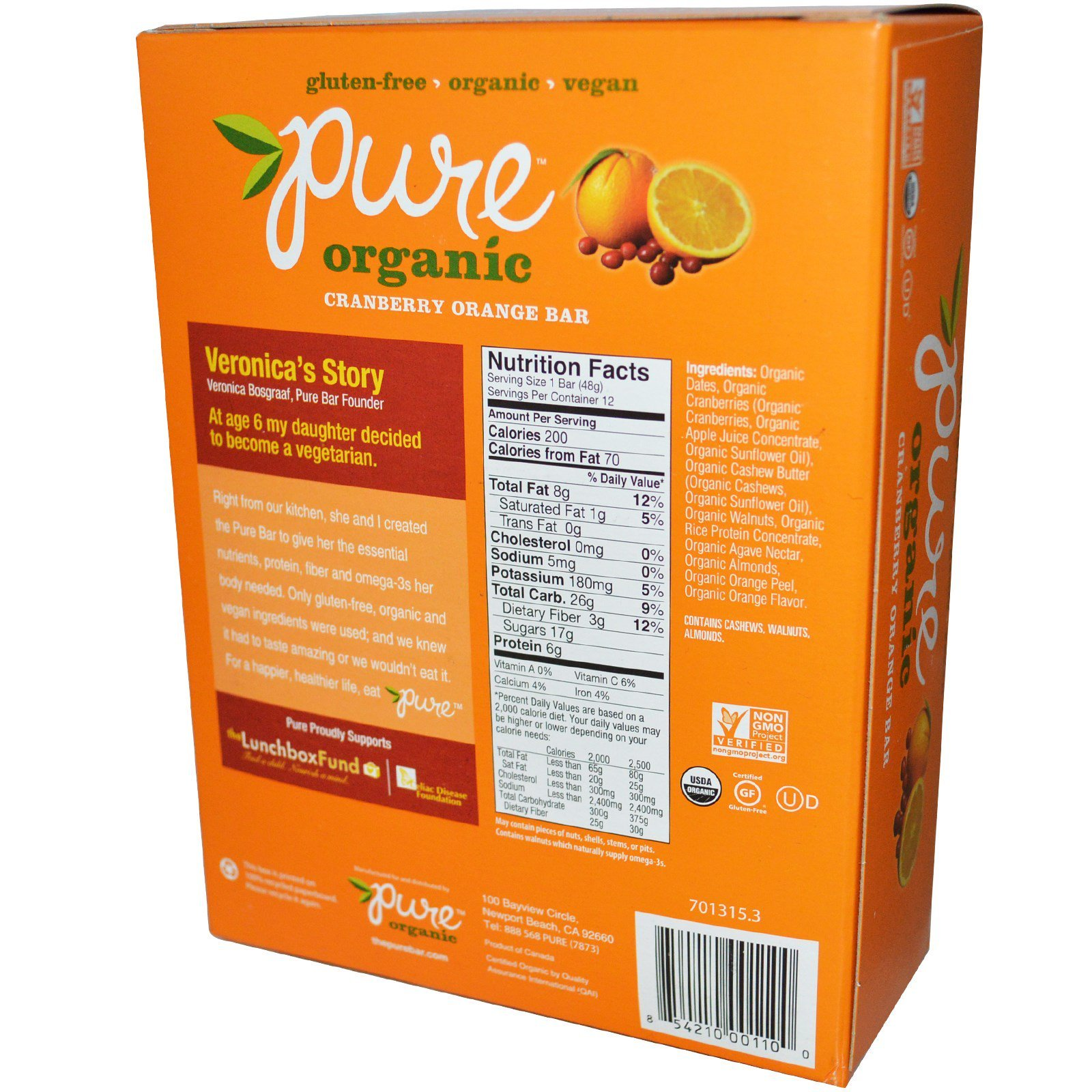 Pure organic cranberry orange bar