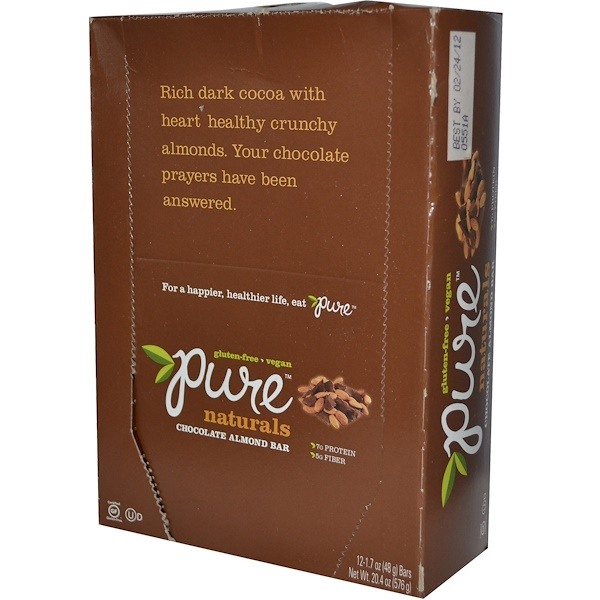 Pure Bar, Naturals Bar, Chocolate Almond, 12 Bars, 1.7 oz (48 g) Each  (Discontinued Item)