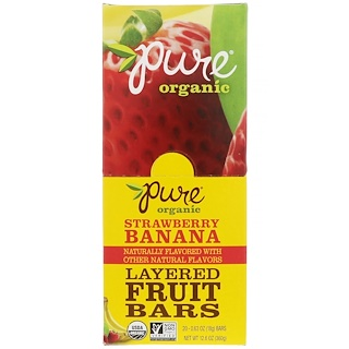 Pure Bar, Organic, Layered Fruit Bars, Strawberry Banana, 20 Bars, 0.63 oz (18 g) Each