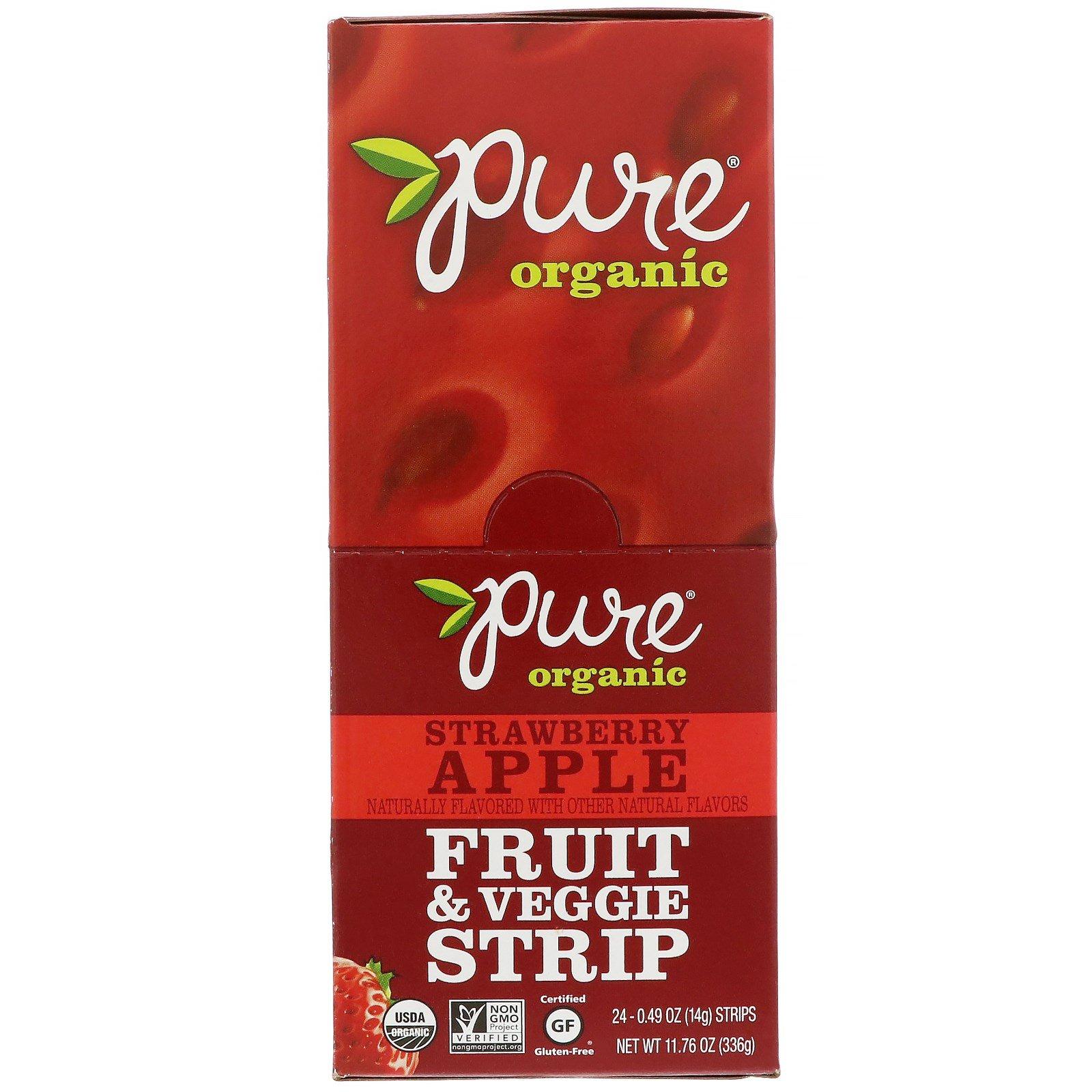 Pure Bar, Органический продукт, Фруктовая и овощная полоска, Клубника и яблоко, 24 полоски, 0,49 унций (14 г) каждая