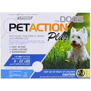 PetAction Plus, Für kleine Hunde, 3 Dosen - 0,023 fl oz (0,68 ml)