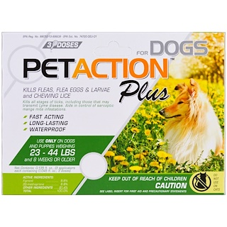 PetAction Plus, Para perros medianos, 3 Doses- 0.045 fl. Oz