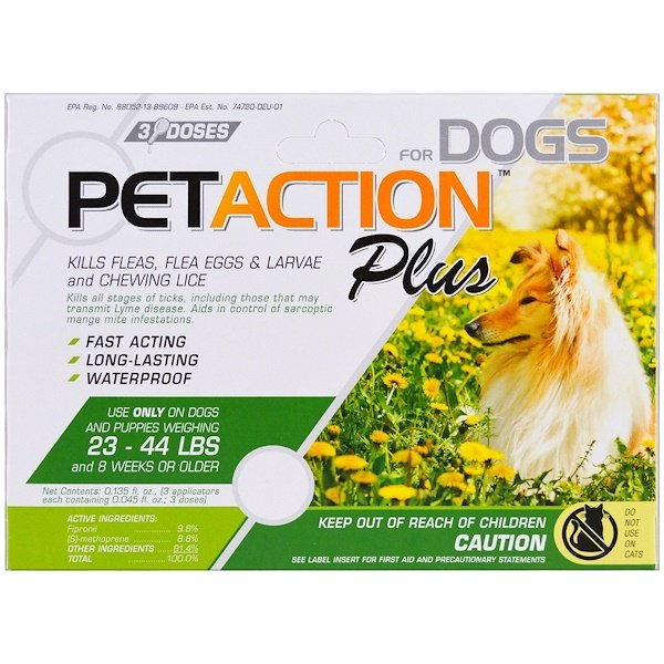 PetAction Plus, For Medium Dogs, 3 Doses- 0.045 fl oz