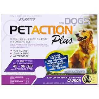 PetAction Plus, Para perros grandes, 3 dosis - 0.091 fl oz c/u