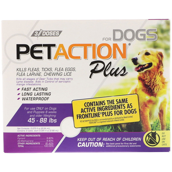 For Dogs, 45-88 lbs, 3 Doses - 0.091 fl oz (2.68 ml) Each