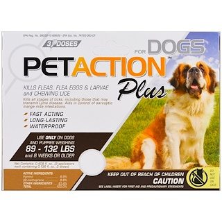 Pet Action Plus, For Xlarge Dogs, 3 Doses - 0.136 fl oz Each