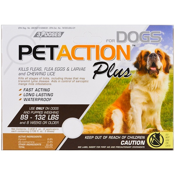 PetAction Plus, For Xlarge Dogs, 3 Doses - 0.136 fl oz Each