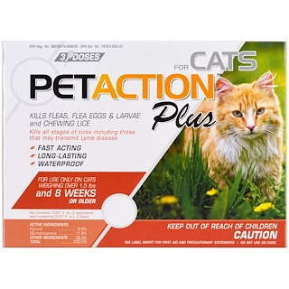 PetAction Plus, Para gatos, 3 dosis - 0.017 fl oz c/u