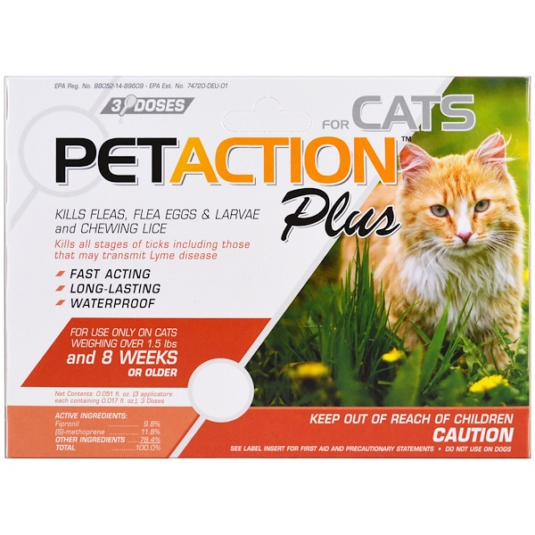 PetAction Plus, For Cats, 3 Doses - 0.017 fl oz Each