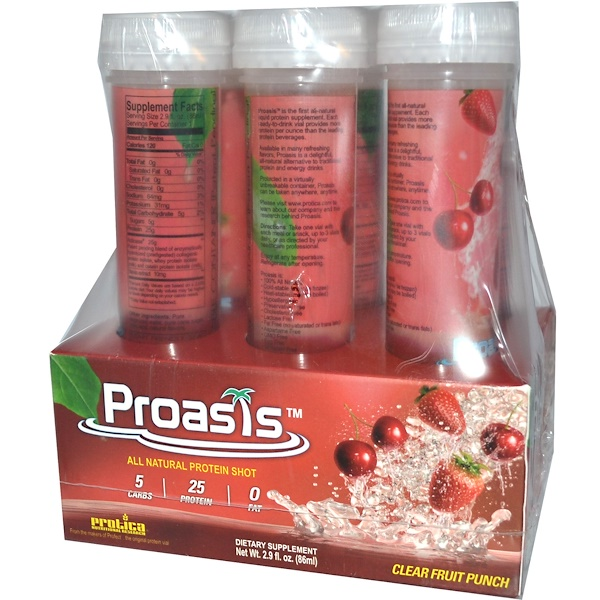 Protica Nutritional Research, Proasis, Clear Fruit Punch, 6 Pack, 2.9 fl oz (86 ml) Each (Discontinued Item)