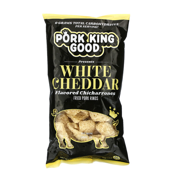 Pork King Good, Flavored Chicharrones, White Cheddar, 1.75 oz (49.5 g)