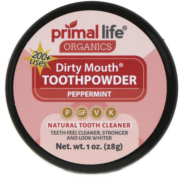 Primal Life Organics, Dirty Mouth Toothpowder, Peppermint, 1 oz (28 g)