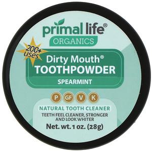 Primal Life Organics, Dirty Mouth Toothpowder, Spearmint, 1 oz (28 g) отзывы покупателей