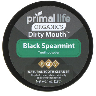 Primal Life Organics, Dirty Mouth Toothpowder, Black Spearmint, 1 oz (28 g)