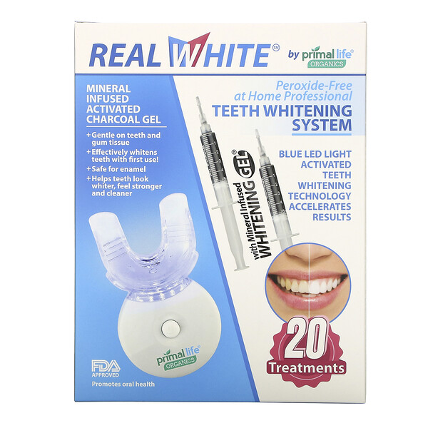 Primal Life Organics, Light Activated Teeth Whitening System, Peroxide-Free, 20 Treatments