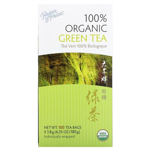 Chá verde 100% orgânico, 100 saquinhos de chá, 1,8 g cada