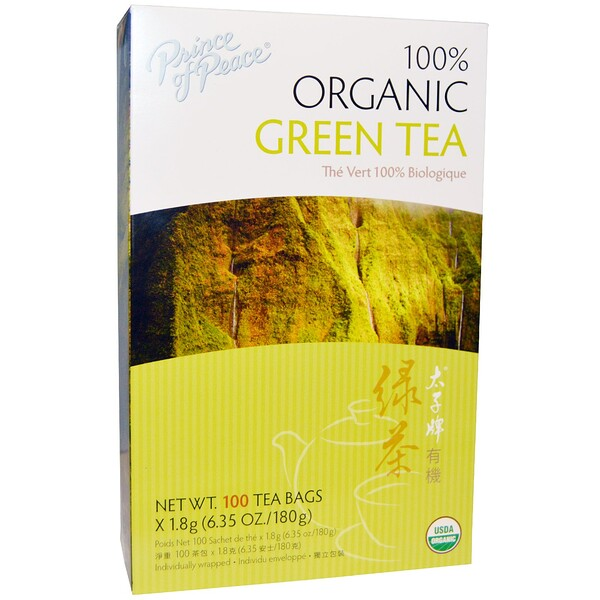100% Organic Green Tea, 100 Tea Bags, 1.8 g Each
