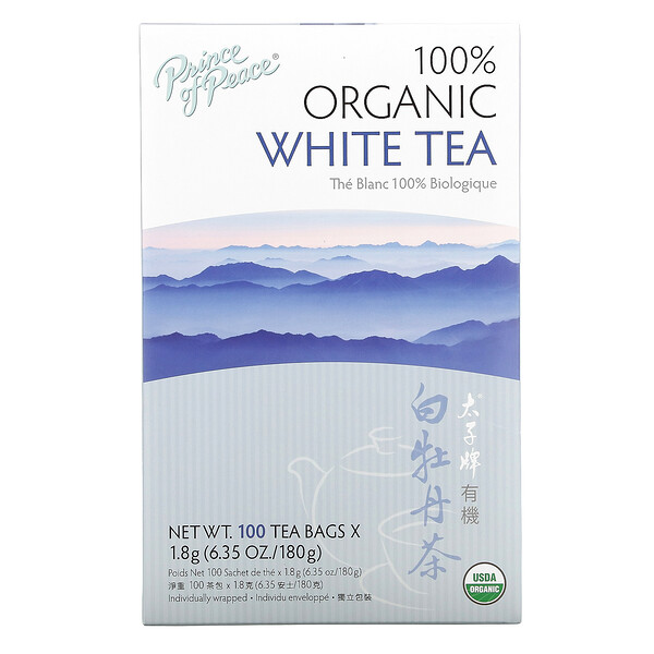 100% Organic White Tea, 100 Tea Bags, 6.35 oz (180 g)