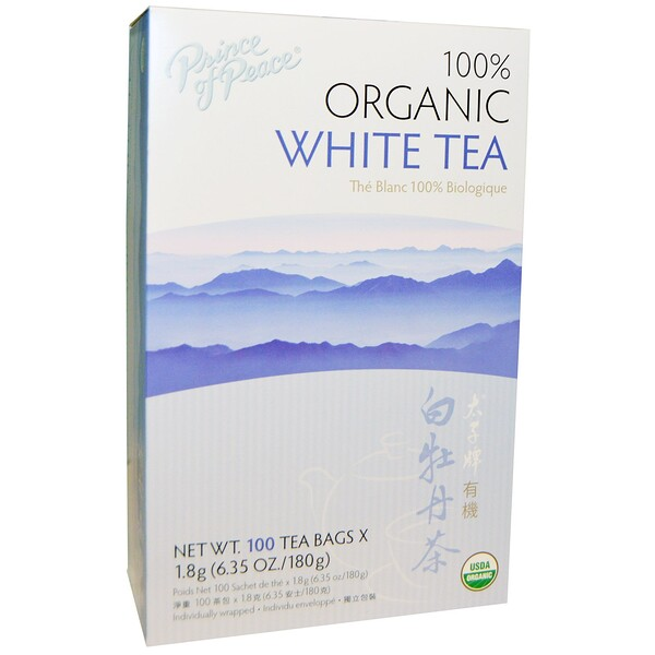 100% Organic White Tea, 100 Sachets, 1.8 g Each