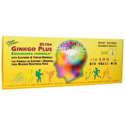 Ультра Гингко Плюс, средство для выносливости, 30 флаконов по 0, 34 жидк. унц. (10 куб. см) каждый  - купить со скидкой