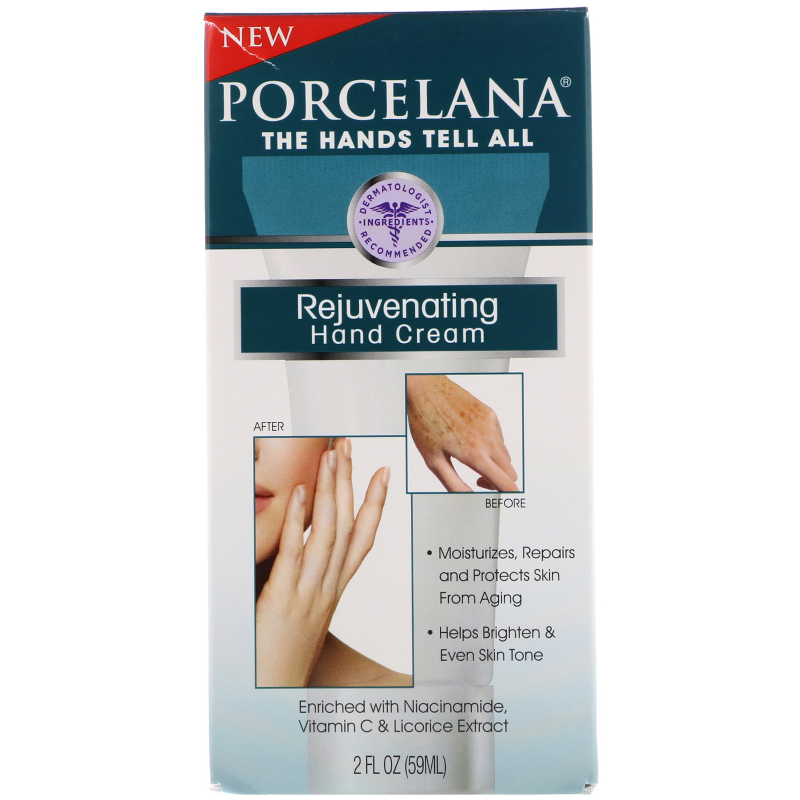 Porcelana, Rejuvenating Hand Cream, 2 Fl Oz (59 Ml)