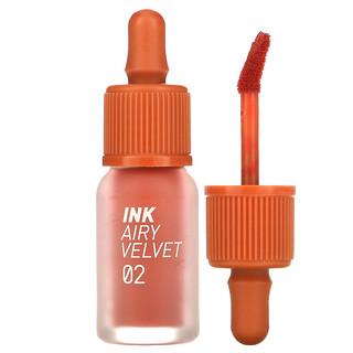 Peripera, Ink Airy Velvet Lip Tint, 02 Selfie Orange Brown, 0.14 oz (4 g)