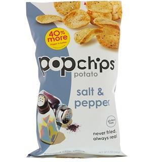 Popchips, ポテトチップス、ソルト&ペッパー、5 oz (142 g)