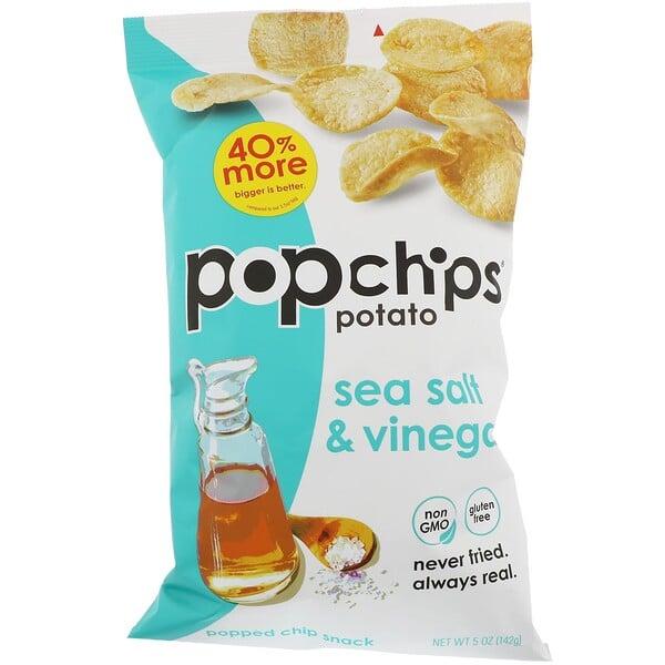 Popchips, رقائق البطاطس، بملح البحر والخل، 5 أونصة (142 جرام)