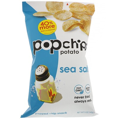 Popchips Картофельные чипсы, Морская соль, 5 унций (142 г)