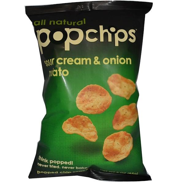 Popchips, Sour Cream & Onion Potato, 3 oz (85 g) (Discontinued Item)