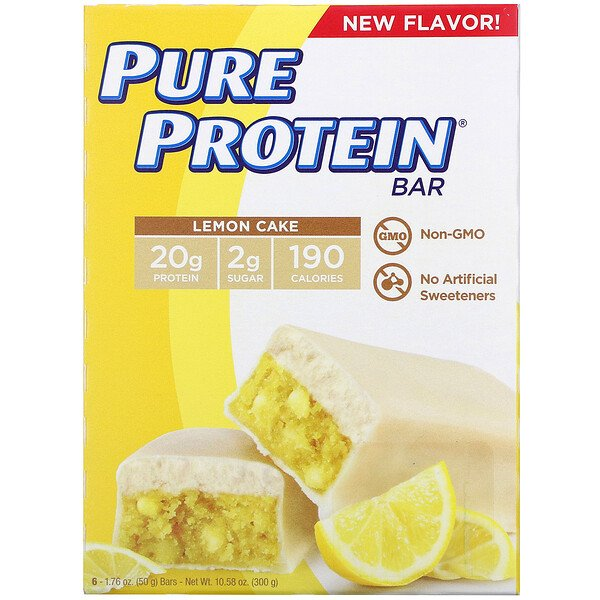 Pure Protein, 레몬 케이크 바, 바 6개, 1개당 50g(1.76oz)
