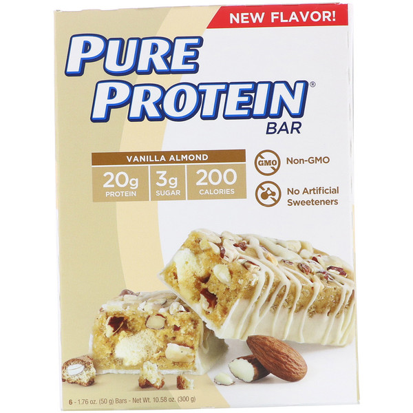 Pure Protein, Vanilla Almond Bar, 6 Bars, 1.76 oz (50 g) Each