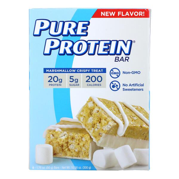 Protein Bars, Marshmallow Crispy Treat, 6 Bars, 1.76 oz (50 g) Each